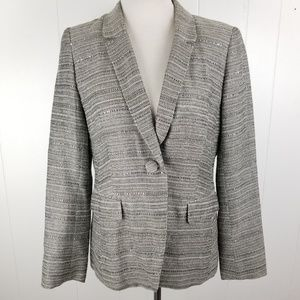 Lafayette 148 NY Black White Gray Sequin Blazer